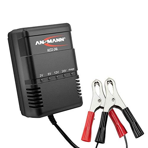 ANSMANN Autobatterie Ladegerät ALCS 2-24 A - Vollautomatisches Batterieladegerät für Autobatterien & Bleiakkus mit 2V, 6V, 12V & 24V / 900mA - Erhaltungsladegerät ideal für PKW, Motorrad, Roller
