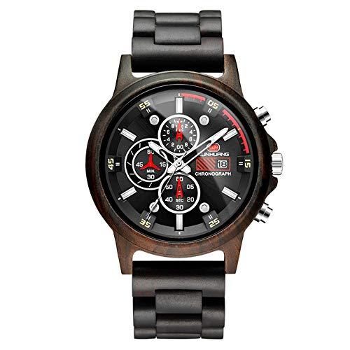 KRFRL Holz Multifunktionsuhr, Sport- und Freizeitquarzuhr, Durchmesser 50mm (Color : Black and Ebony) -