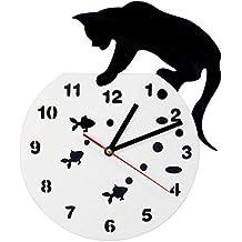 QUTICL 1 Pieza Novedad Reloj Gato Y Pecera Reloj de Acrílico Decoración de Pared Pantalla Colgante