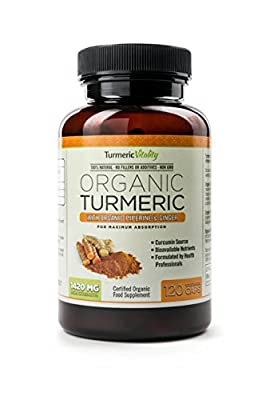 Certified Organic Turmeric 1420mg Highest Strength Available - 120 Veg Capsules with Ginger & Piperine for Maximum Benefits & Absorption of Curcumin | Health supplement | UK Made by Turmeric Vitality | 100% Satisfaction Guarantee