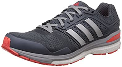 adidas Men's Supernova Sequence Boost 8 M Grey, Silver and Red Mesh Running Shoes - 8 UK