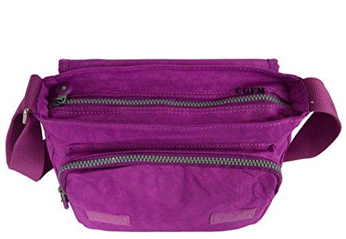 GFM da donna in nylon leggero Piccolo Croce Corpo Borsa a tracolla Style 1 - Purple (12HLJMN)