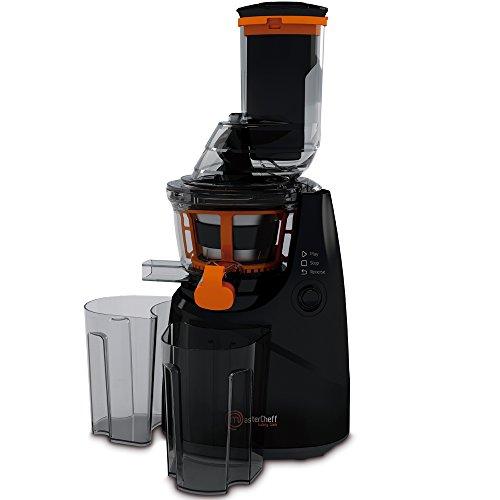 Mastercheff Licuadora de prensa fría para frutas y verduras. Extractor de jugo con canal XL para fruta entera. Velocidad de 45 rpm y potencia de 250 W. BPA free. My MasterCheff Galery Cook Frutti