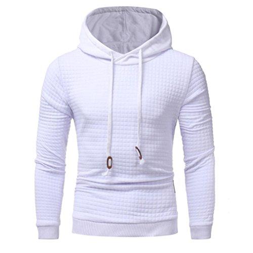 Tefamore Pour des hommes Manche longue Hoodie à capuche Sweatshirt Tops Veste Manteau (XL, Blanc)