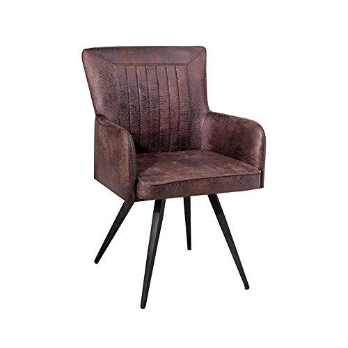 Hochwertiger Design Stuhl ROADSTER Retro antik braun Sattel-Optik Industrial Esszimmerstuhl Küchenstuhl -