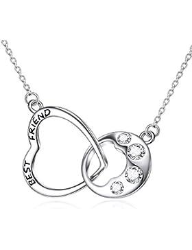 925 Sterling Silber Hund Pfote Halskette würfelförmig Zirkon Liebe Herz Anhänger mit Schmuck