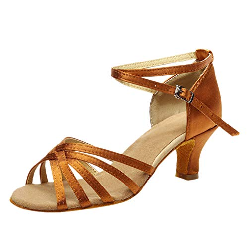 Dorical Damen Latein Tanzschuhe/Sandale mit 3/5cm Absatz/Mädchen Salsa Tanz Latein Stil Tanzschuhe/Ballsaal Tanzschuhe für Halloween Performance-Schuhe Valentinstag Schuhe (Braun,40 EU)