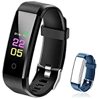 Fitness Trackers- Activity Tracker Watch with Heart Rate Blood Pressure Monitor, Waterproof Watch with Sleep Monitor, Calorie Step Counter Watch for kids Women Men Compatible Android iPhone Black+Blue