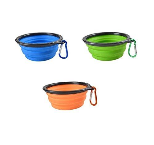 Futternapf, Silikon, owikar zusammenklappbar, erweiterbar Cup PET Hund Futter und Wasser Futternapf Lebensmittelecht Camping Reise Schüssel, Futterspender für Haustiere, Blue+Green+Orange (Stretch-tülle)