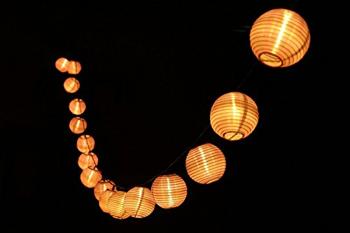 Finether 5.6 m Guirlande Lumineuse Solaire Lumières 20 LED Lampion Nylon Lanterne avec Eclat Blanc Chaud - Rose