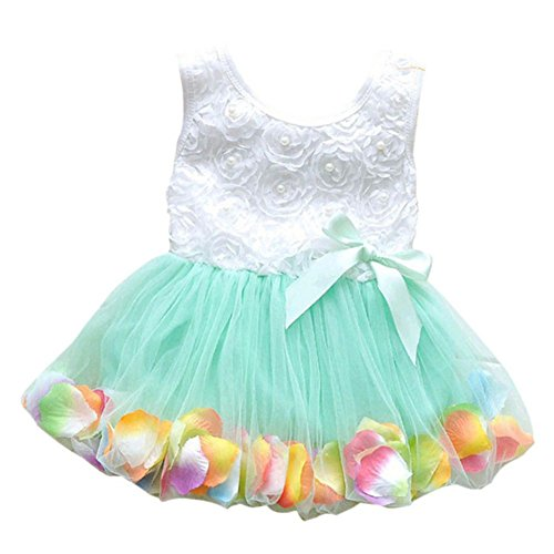 Kinder Kleinkind Baby Mädchen Streifen Prinzessin Dress Party Tutu Vest, Grn, 0-1 Jahre