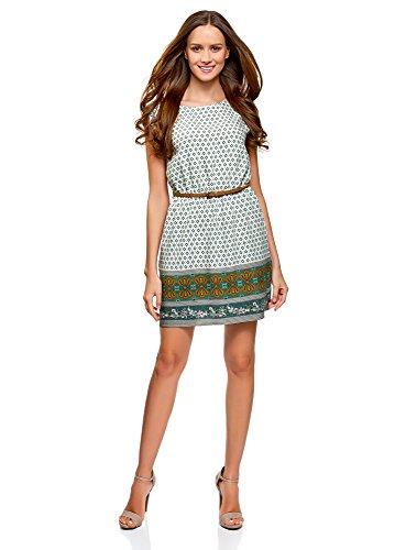 oodji Ultra Damen Viskose-Kleid Basic mit Gürtel, Grün, DE 36 / EU 38 / S