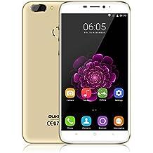 OUKITEL U20 Plus 4G teléfono inteligente, 5,5 pulgadas 1080P pantalla desbloqueado Android teléfono móvil, MT6737T Quad Core 1.5GHz 2 GB RAM 16 GB ROM, 13MP doble lente de la cámara trasera, Dual SIM Pulse Fingerprint sensor de teléfono celular (Oro)