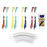 COM-FOUR 8er Set bunte Kinder-Handzahnbürste Soft in Delfin-Form inklusive 50x
