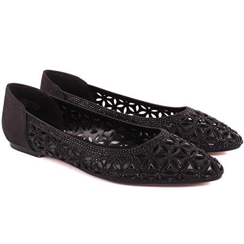 Unze Ritaglio nuove signore delle donne 'Emona' Progettato Diamante Impreziosito da sera, da sposa, da partito di promenade Slip-on scarpe piane Dimensioni 3-8 Nero