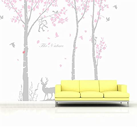 Yanqiao Schön Niedlich Affe und Vögel Spielen auf Baum Große Wand Kunst Aufkleber Für Kinderzimmer Wohnzimmer Kindergarten Vinyl Abziehbild Kunst Zuhause Dekorieren Größe 300x260cm,