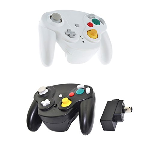 MagiDeal 2Pieces Wireless Game Controller For Nintendo GameCube/Wii/Wii U Black+White