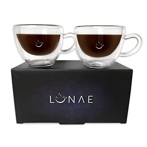 Lunae Espresso Cups, Double Walled Coffee Glass - 80ml – Set of 2