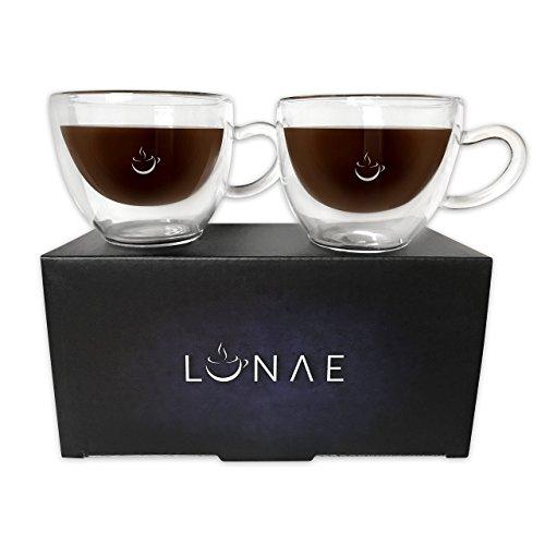 Lunae Espresso Tassen Glas Doppelwandig, Kaffee Gläser - 80ml, zweier Set (Krug Mit Eis-container)
