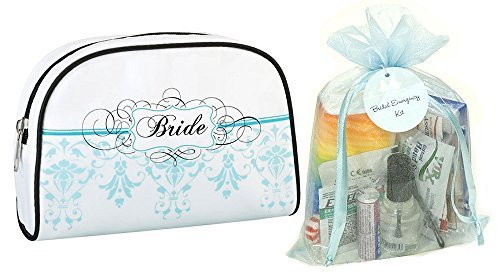 Wedding Day Bridal Emergency Kit in Aqua Design Bride Travel Bag by Yacanna