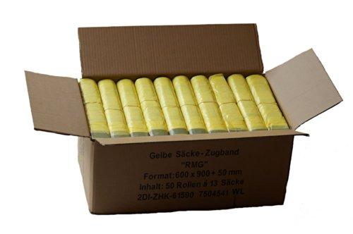*Gelber Sack – Ein Karton mit 50 Rollen (650 Gelbe Säcke) – 15 µm Folienstärke*