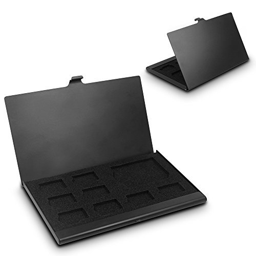 SD Memory Card-Aluminium-Gehäuse, Senhai Micro SD Card Speicherschutzbehälter, 2 Pack - Schwarz (16gb Memory Card Case)