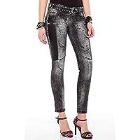 Cipo&Baxx WD191 Deri Yamalı Slim Fit Siyah Bayan Kot Pantolon