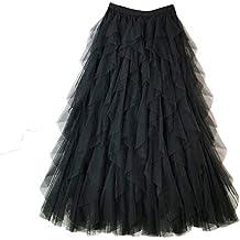 7abb13ffbb Falda Larga De Tul Fiesta De Tutú para Mujer Plisadas Faldas Cintura  Elástica