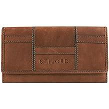 e63dca2df0ace STILORD Vintage Portemonnaie aus Leder für Damen groß Geldbeutel  Ledergeldbörse Reißverschluss Kartenfach Büffel-Leder braun