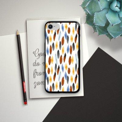 Apple iPhone X Silikon Hülle Case Schutzhülle Federn Bunt Muster Hard Case schwarz