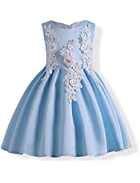 abd21579e QZ Vestidos de niña de Flores Vestidos de Verano para niños Niñas Cinturón  de Bowknot Vestidos Casuales Niña Vestido de Princesa Bordado 3…