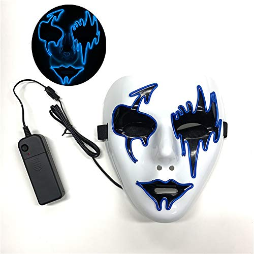 Cool Kostüm Scary - HYwot Halloween Sound Reactive Scary Maske, LED Cool Light Up Musik Maske Kostüm für Erwachsene,styleA