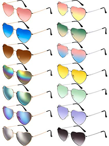Chinco 14 Stück Herz Sonnenbrillen Metallrahmen Aviator Schöne Herz Farbige Sonnenbrille (Gold Rahmen und Silber Rahmen)