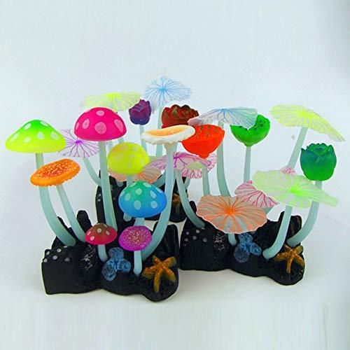 SparY Aquarium Silikon Leuchtend Pilz Blatt Deko Aquarium Grüne Pflanzen Wasser Gras Verzierung Pflanze Zufällig Farbe #733 (Zufällig Farbe) - Zufällig Farbe