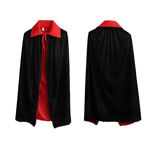 Skyllc® Kinder Halloween Ankleiden Erwachsene Zauberer Magischer Umhang Lustige Masquerade Requisiten Cosplay Kits Schwarz Rot Reversibel (Kinder Halloween)