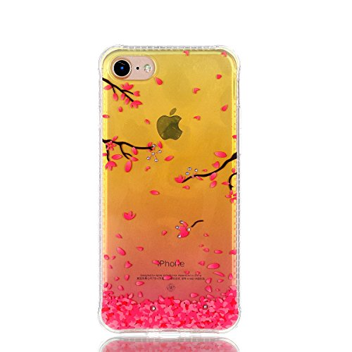Pour iPhone 7 Plus (5,5 zoll) Case Cover, Ecoway TPU Soft Silicone Golden background personalized pattern Housse en silicone Housse de protection Housse pour téléphone portable pour iPhone 7 Plus (5,5 cerise