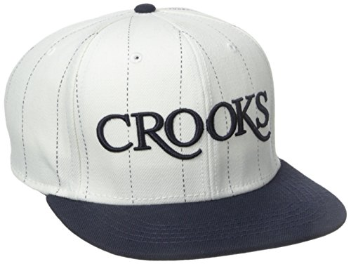 Crooks and Castles Men's Serif Crooks Woven Snapback Hat White