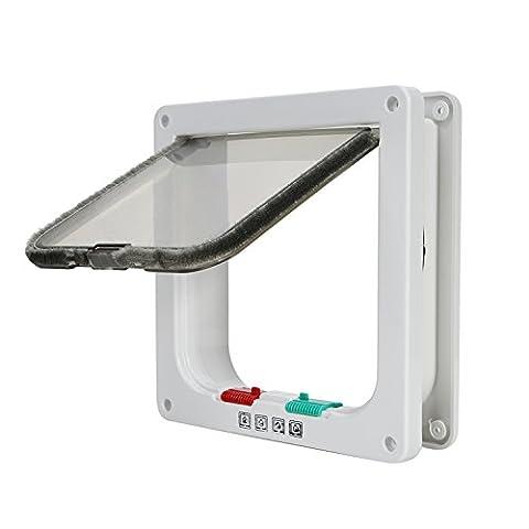 Top Munster Chat rabats, 4voies de verrouillage Porte Chat avec porte Liner Blanc kit de porte de verrouillage pour les petits animaux (cadre télescopique, l'installation de facilement)