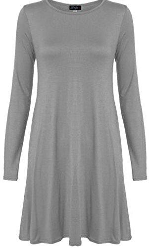 Chocolate Pickle ® Neue Frauen Plus Size Flare Swing-Kleid Langarmshirt Hanky Hem Jersey-Kleid 36-54 Grau
