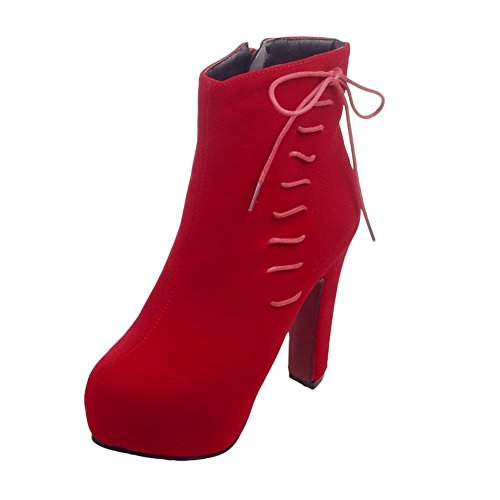 Mee Shoes Damen inner Plateau high heels Nubukleder Stiefel Rot