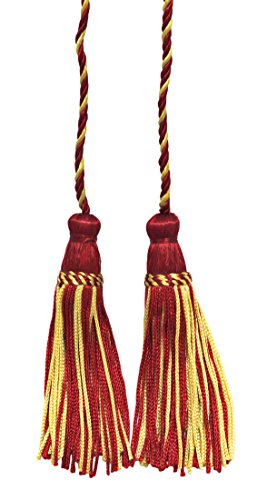 Lot de 2 Doré clair, Cerise Double Tassel/pompon Cravate avec 10,2 cm inch Pompon/propagation 73,7 cm, style # Cdct Couleur : 572