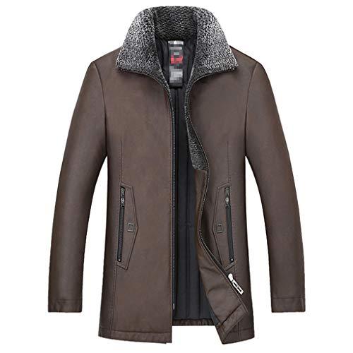 NHX Herren-Leder-Mäntel und Jacken beiläufige Herbst und Winter Mantel aus gewaschenem Leder Motorradjacke halbe Länge Klassische Warm Lederjacke,Coffee-2XL