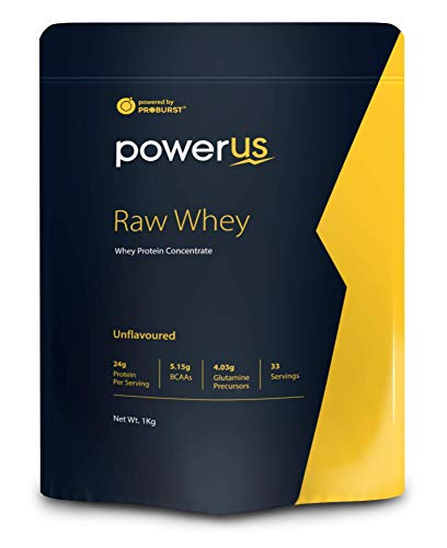 Powerus Raw Whey Protein Powder 1Kg | 80% Concentrate Whey | 33 Servings | 24 gm Protein, 5.1 gms BCAA and 4 gms Glutamine Per Serving - Unflavored