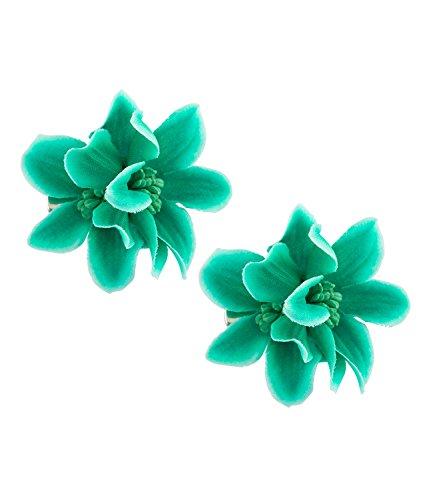 arschmuck, 2er Set Haarspangen mit jeweils 2 Textil Blüten in türkis (24-685) (Türkis Hexe Kostüme)