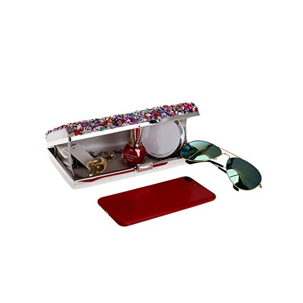 41GExltsnwL. SS600  - Kentop Bolsas de Embrague para Mujer con Piedra Incrustada Coloreado Bolso de Noche para Boda Partido Fiesta