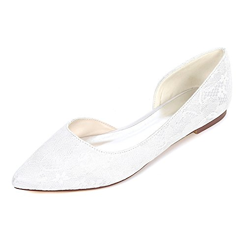 2046-08LS Damen Brautschuhe Lace Satin Damen Flache Ballett Brautjungfer Satin Slip On Hochzeit Brautkleid Schuhe,White,UK4/EU37 (Flache Slip-ons Ballett)