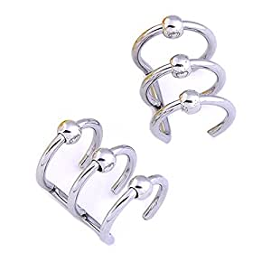 piercingj 2pcs faux clips d 39 oreille triple sans trou boucle nez levre cartilage helix faux. Black Bedroom Furniture Sets. Home Design Ideas