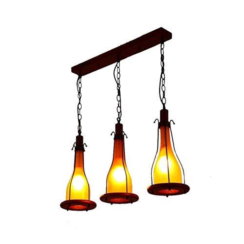 Oli Beleuchtung Kronleuchter Kronleuchter Kronleuchter Retro Massivholz 3-Kopf von E14 LED Beleuchtung Esszimmer American Village geschmiedete hängende Deckenleuchte des Haushalts der Beleuchtung,Gel - - Deckenleuchte Geschmiedet