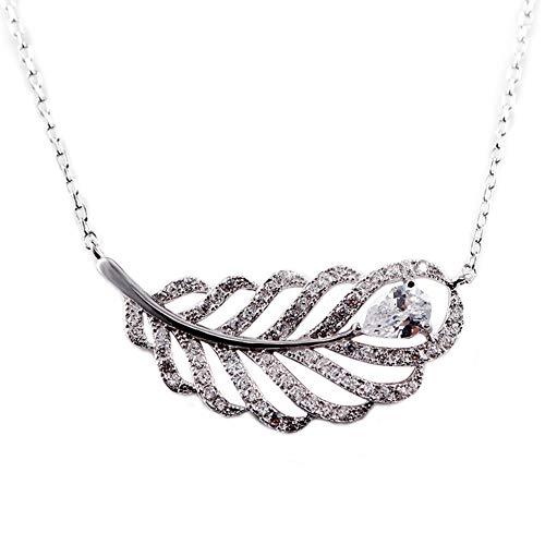 Thwjsh collana in argento sterling 925 da donna in argento 925 con pavone di piume di pavone 翎 collana squisita da donna con diamanti selvaggi catena di gioielleria clavicola