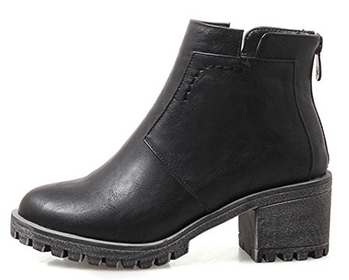 Talon Chunky Aisun Femme Bottines Low Noir Plateforme Mode Boots PwqAfxnZ